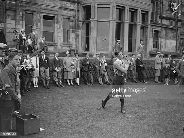British golfer George Duncan on the first tee at the Old Course St Andrews He played in the inaugural Ryder Cup match against the USA in 1927