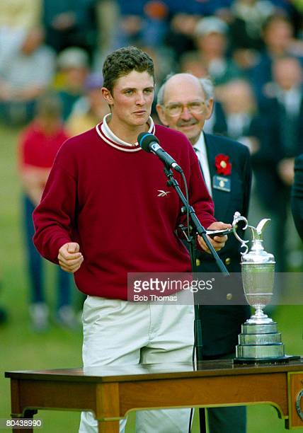 British golfer Justin Rose collects his prize as leading Amateur after finishing 4th in the British Open Golf Championship held at Royal Birkdale...