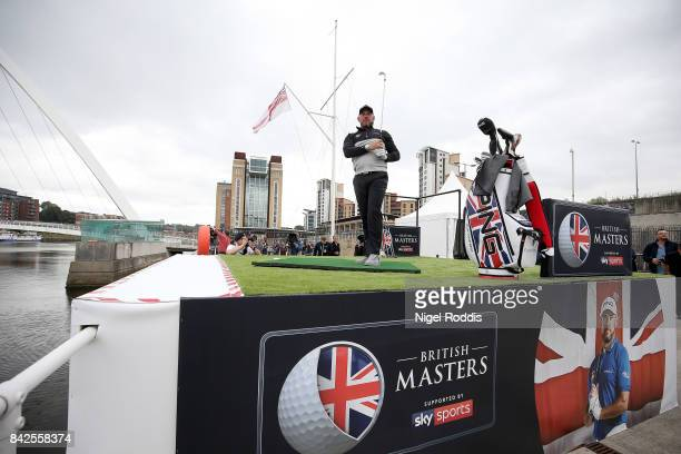 British golfer Lee Westwood tees off during a British Masters preview event on the Tyne River on September 4 2017 in Newcastle upon Tyne England