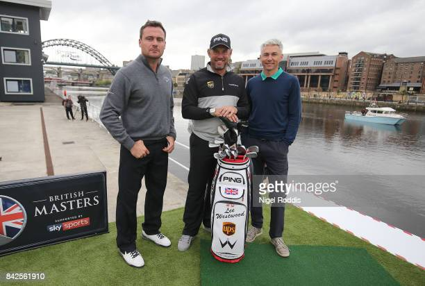 British Golfer Lee Westwood with Former Newcastle United player Steve Harper and Former athlete Jonathan Edwards during a British Masters preview...