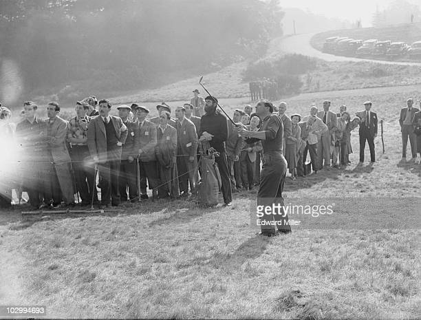 British golfer Max Faulkner in the rough on the first hole during the Ryder Cup golf competition at the Wentworth Club Surrey 3rd October 1953...