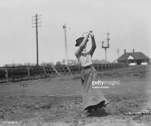 British golfer Mrs Gordon Robertson on the fairway at an unspecified course, 1909.