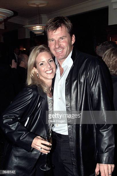 British golfer Nick Faldo and his wife attend the book launch for Jane Moore's latest novel called Fourplay at the Ivy Hotel on October 1 2001 in...