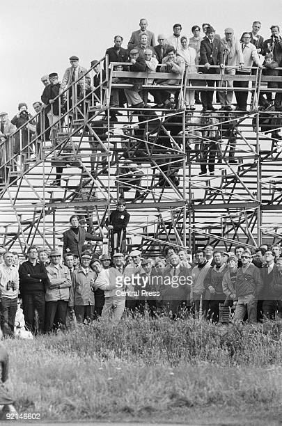 British golfer Tony Jacklin drives out from the rough to the 15th green during the Open Golf Championship at Royal Lytham & St Annes, Lancashire,...