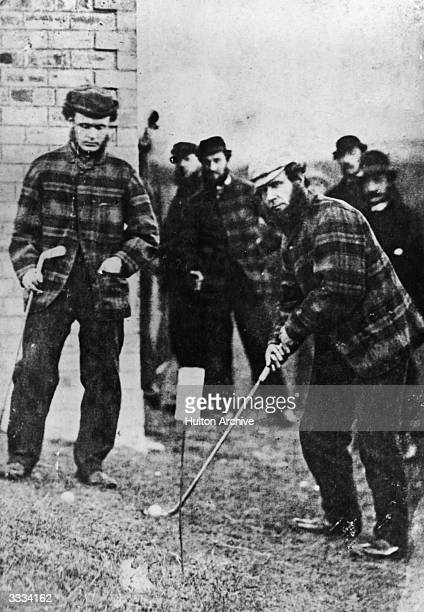 British golfers 'Old' Tom Morris and Charlie Hunter at a match at Prestwick Ayrshire 'Old' Tom and his son 'Young' Tom became the only father and son...