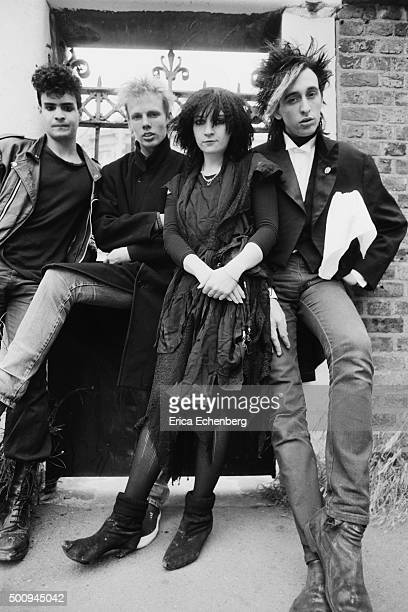 British gothic deathrock band Blood and Roses group portrait West London United Kingdom 1982 Line up includes Lisa Kirby Bob Short Jez James Richard...