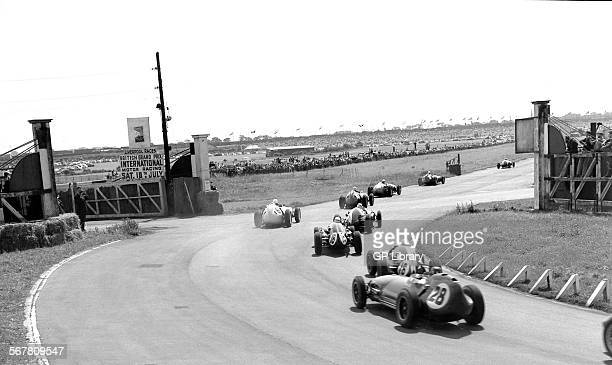 British GP Aintree 18th July 1959 Car no 28 Graham Hill LotusClimax 16 9th car no 16 Bruce McLaren CooperClimax T51 finished 3rd car no 18 Maurice...