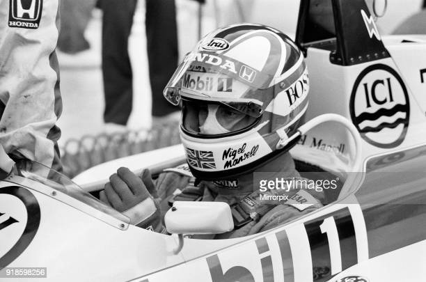 British Grand Prix Formula One World Championship race at Silverstone. Williams driver Nigel Mansell, seen here celebrating on the podium after...