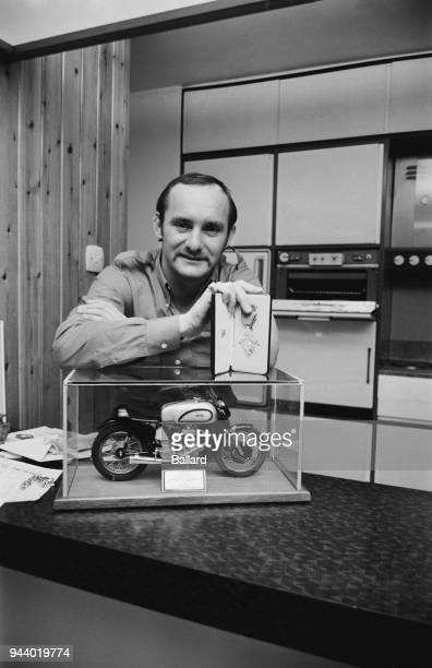 British Grand Prix motorcycle road racer Mike Hailwood with his MBE medal, UK, 28th february 1968.