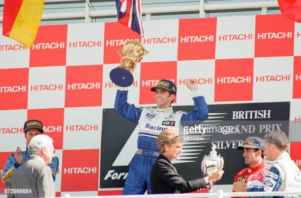 British Grand Prix Silverstone Northamptonshire England Sunday 10th July 1994 our picture shows on the podium Damon Hill driving for Williams Renault...