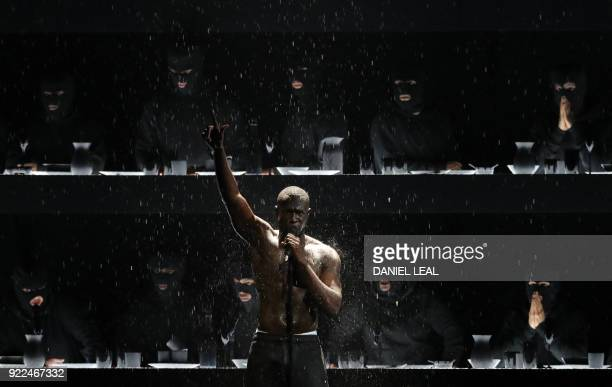 British grime and hiphop artist Stormzy performs during the BRIT Awards 2018 ceremony and live show in London on February 21 2018 / AFP PHOTO /...