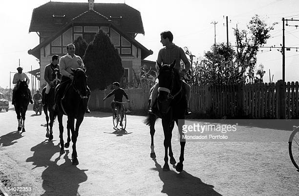 British group captain and aviator Peter Townsend riding a horse on the road along the railway. Merano, 1955