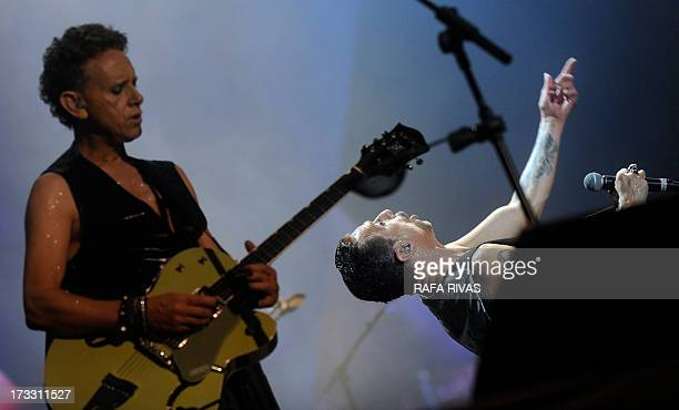 British group Depeche Mode's singer David Gahan performs next to Alan Wilder during the Bilbao BBk Live music festival on July 11 in the Northern...