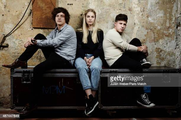 British group London Grammar with Dot Major Hannah Reid and Dan Rothman are photographed for Paris Match backstage on February 25 2014 in Paris France