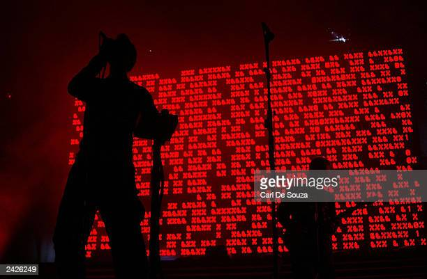 British group Massive Attack performs to a crowd of approximately 10000 at Queens Square August 25 2003 in Bristol United Kingdom The gig was their...
