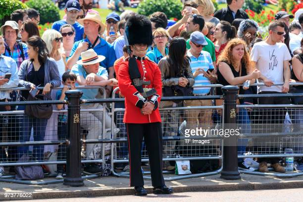 British Guard stands guard during the celebration of the Queen's birthday called Trooping The Colour on June 9 2018 in London England