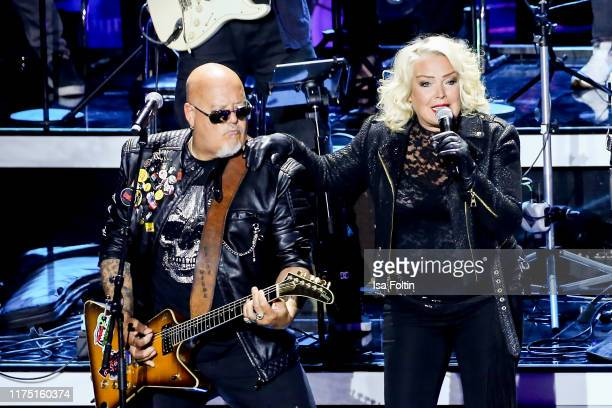 British guitarist and producer Ricky Wilde and his sister British singer Kim Wilde perform at Gottschalks Grosse 80er Show on September 6 2019 in...