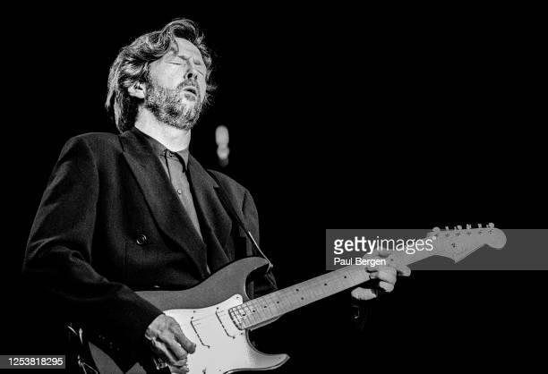 British guitarist and singer-songwriter Eric Clapton performs at Feijenoord stadium, Rotterdam, Netherlands, 19 June 1992.
