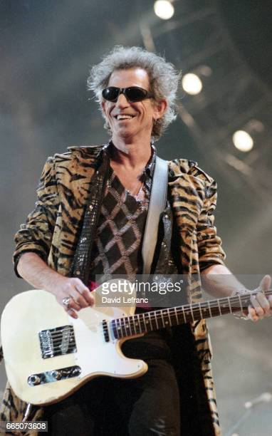 British guitarist and songwriter Keith Richards of the rock band The Rolling Stones on stage at the Giants Stadium in New York