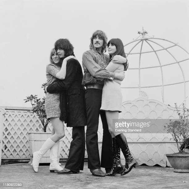 British guitarist and songwriter Ritchie Blackmore with his girlfriend Babs Hardie and British pianist Jon Lord with his girlfriend Judith Fielding...