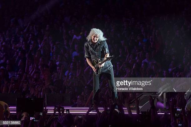 British guitarist Brian May performs during the Queen + Adam Lambert show during the second day of Rock in Rio Lisbon on May 20, 2016 in Lisbon,...