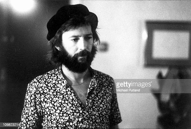 British guitarist Eric Clapton backstage in Chicago during his US tour in 1974
