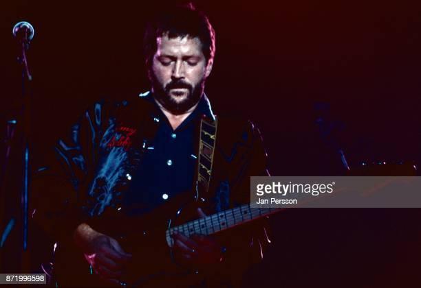 British guitarist Eric Clapton peforming in concert Copenhagen Denmark 1980