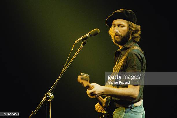 British guitarist Eric Clapton performing on stage during his US tour, July 1975.