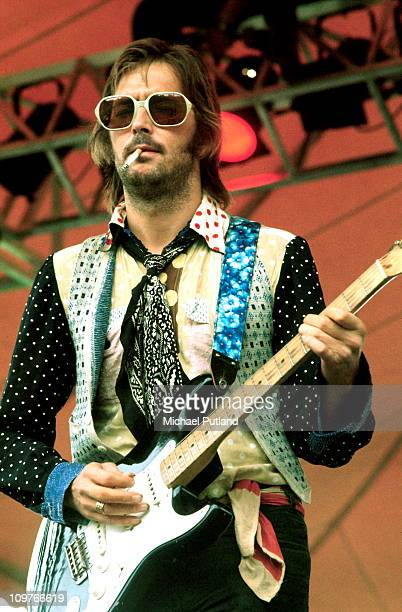 British guitarist Eric Clapton performing on stage in Philadelphia during his US tour in 1974