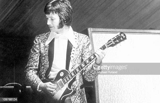 British guitarist Eric Clapton performing on stage with Cream during their first live appearance at the Windsor Jazz and Blues Festival in Berkshire...