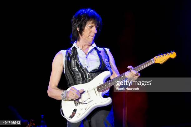 British guitarist Jeff Beck performs live during a concert at the Columbiahalle on May 30, 2014 in Berlin, Germany.