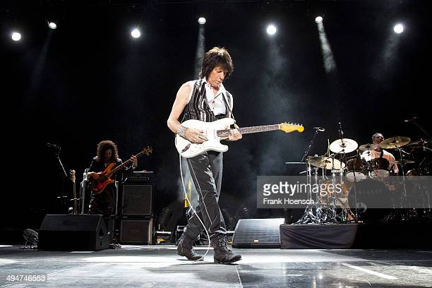 British guitarist Jeff Beck performs live during a concert at the Columbiahalle on May 30 2014 in Berlin Germany