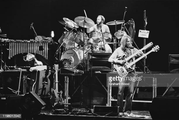 British guitarist Mike Rutherford and American drummer Chester Thompson of rock band Genesis rehearsing at the Rainbow Theatre in London UK January...