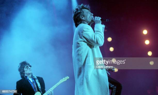 British guitarist Ronnie Wood and singer and songwriter Mick Jagger leader of rock band The Rolling Stones on stage at the Giants Stadium in New York
