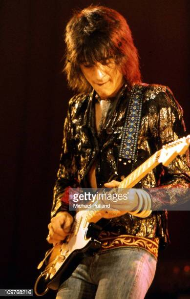 British guitarist Ronnie Wood of the Faces performing on stage in 1972