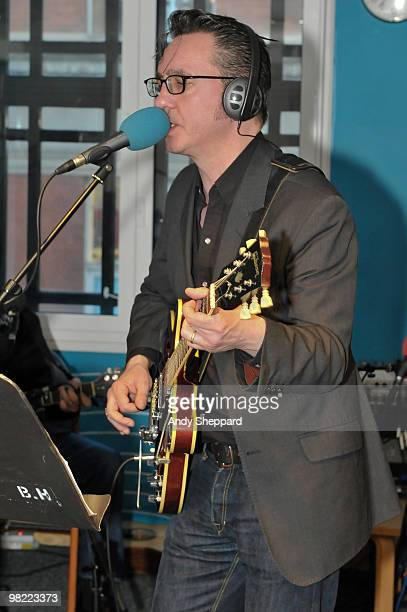 British Guitarist SingerSongwriter Richard Hawley performs for a special edition of The Evening Session at the BBC 6 Music Studios on April 2 2010 in...