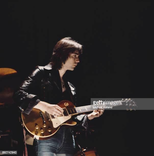 British guitarist Steve Hackett of rock group Genesis performing with a Gibson Les Paul Goldtop 1974