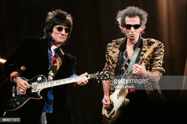 British guitarists Ronnie Wood and Keith Richards of the rock band The Rolling Stones on stage at the Giants Stadium in New York