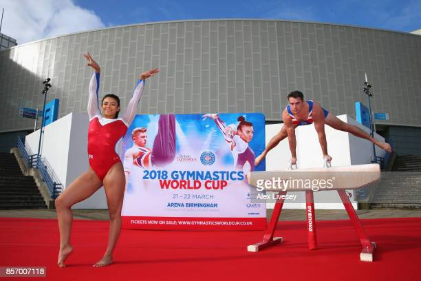 British gymnasts Kristian Thomas and Ellie Downie launch the 2018 Gymnastics World Cup at Arena Birmingham on October 3 2017 in Birmingham England...