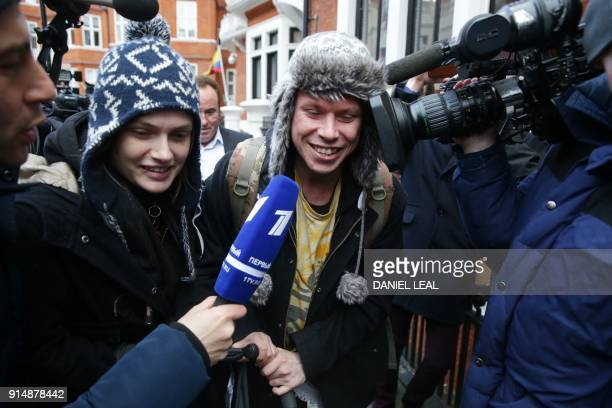 British hacker Lauri Love and his girlfriend Sylvia Mann are surrounded by media after visiting Wikileaks founder Julian Assange in the Ecuadorian...