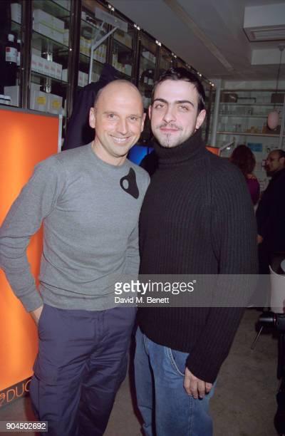 British hairstylist Sam McKnight with British fashion designer Antonio Berardi at the Pharmacy Club in Notting Hill London UK 4th February 1998