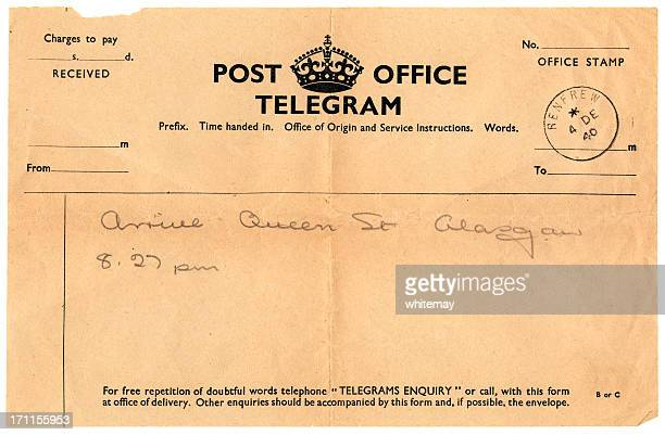 British handwritten notification of arrival telegram, 1940