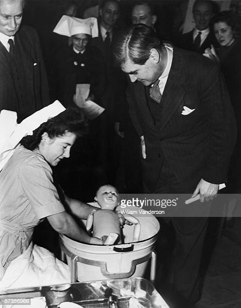 British Health Minister Aneurin Bevan opens a hospital exhibition at County Hall as part of a recruitment drive for nurses and domestic staff 21st...