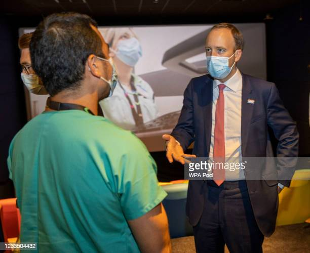 British Health secretary Matt Hancock meets NHS staff during a visit to the Chelsea & Westminster hospital on June 17, 2021 in London, England. The...