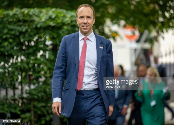 British Health secretary Matt Hancock visits to the Chelsea & Westminster hospital on June 17, 2021 in London, England. The Prince of Wales,...