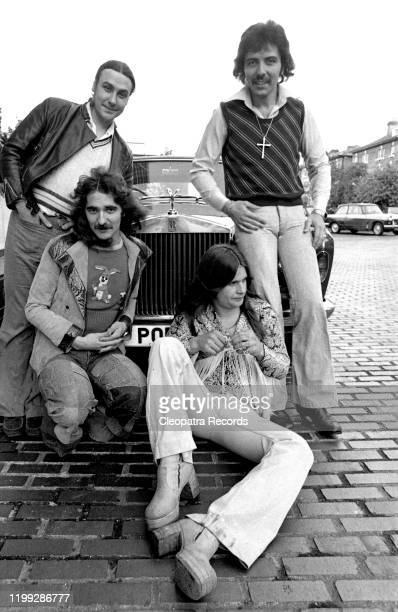 British heavy metal band Black Sabbath L-R Bill Ward, Geezer Butler, Ozzy Osbourne, and Tony Iommi, pose for a portrait in 1975 in London, UK.