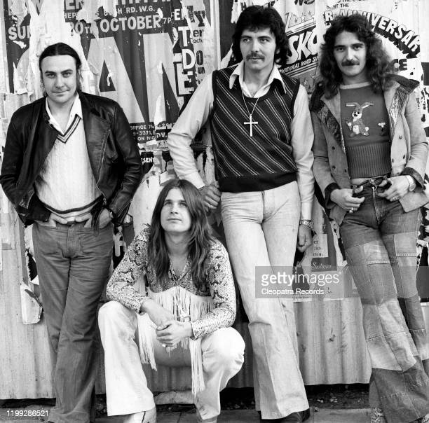 British heavy metal band Black Sabbath L-R Bill Ward, Ozzy Osbourne, Tony Iommi, and Geezer Butler pose for a portrait in 1975 in London, UK.