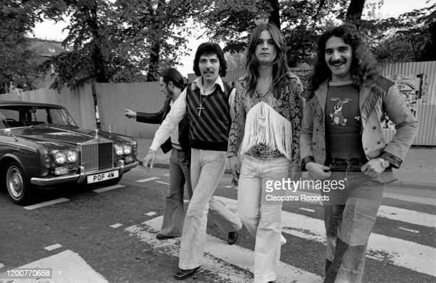 British heavy metal band Black Sabbath L-R Bill Ward, Tony Iommi, Ozzy Osbourne, and Geezer Butler pose for a portrait in 1975 in London, UK.