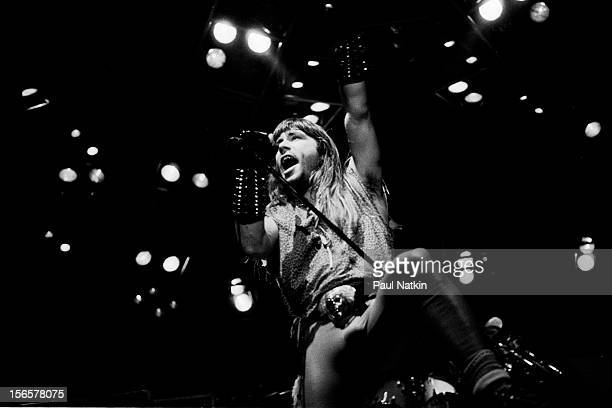 British heavy metal band Iron Maiden performs at Madison Square Garden during their World Piece Tour New York New York October 8 1983 Pictured is...