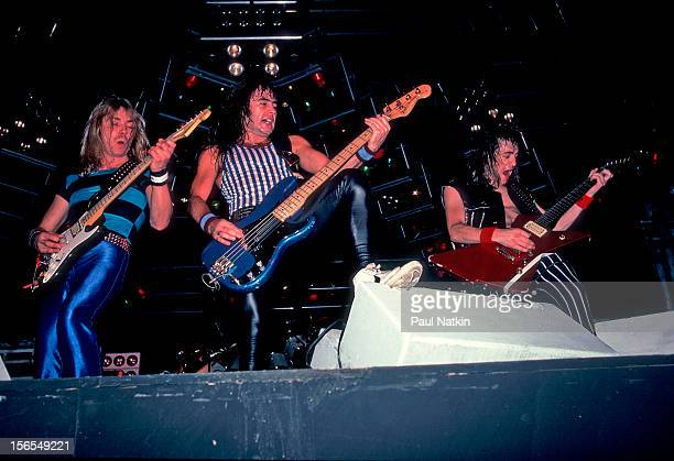 British heavy metal band Iron Maiden performs at the Alpine Valley Music Theater during their World Piece Tour East Troy Wisconsin August 6 1983...